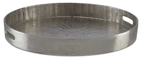 "21"" Currey and Company Luca Silver Large Tray - 1"