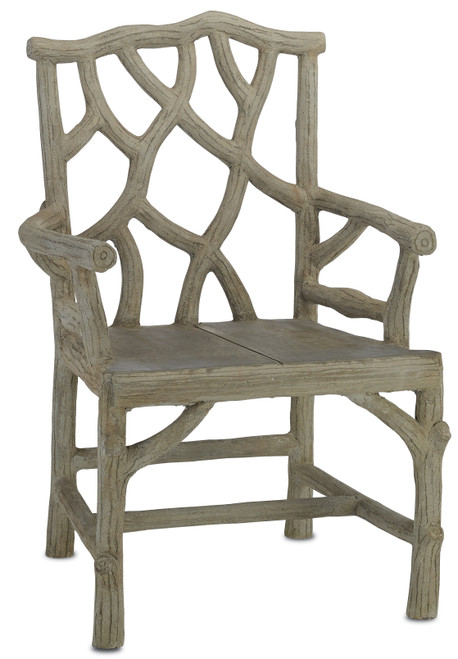 """38"""" Currey and Company Woodland Arm Chair - 1"""