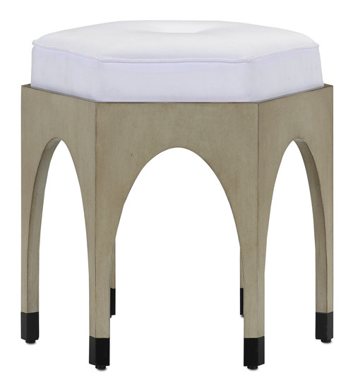 """18"""" Currey and Company Dyer Muslin Oyster Ottoman - 1"""