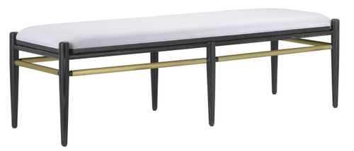 """60"""" Currey and Company Visby Muslin Black Bench - 1"""