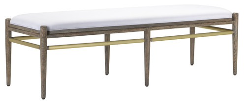 """60"""" Currey and Company Visby Muslin Pepper Bench - 1"""