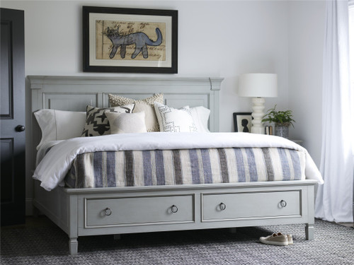 "88"" Universal Furniture Summer Hill - French Gray Storage King Bed - 1"