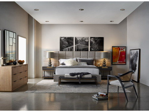 "152"" Universal Furniture Modern Bacall King Bed with Wall Panels - 1"