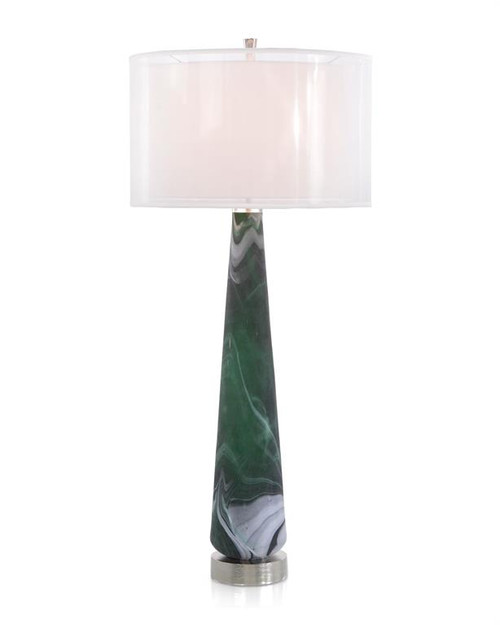 "42"" John Richard Emerald Green Marbled Buffet Lamp - 1"