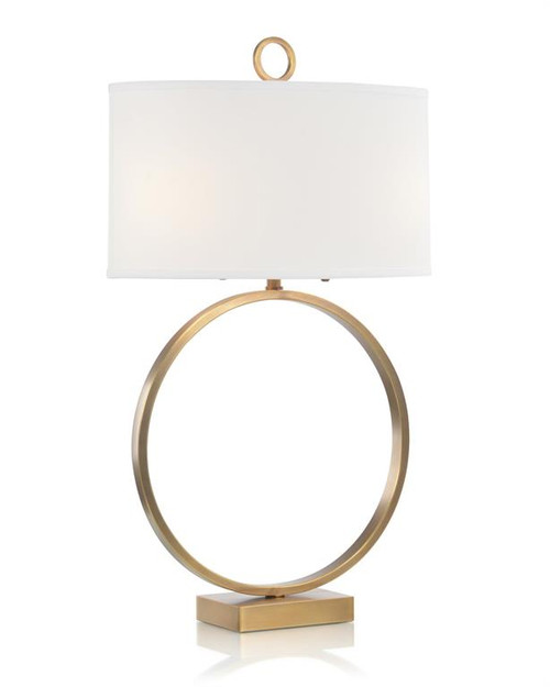 "34"" John Richard Antique Brass Small Open-Ring Table Lamp - 1"