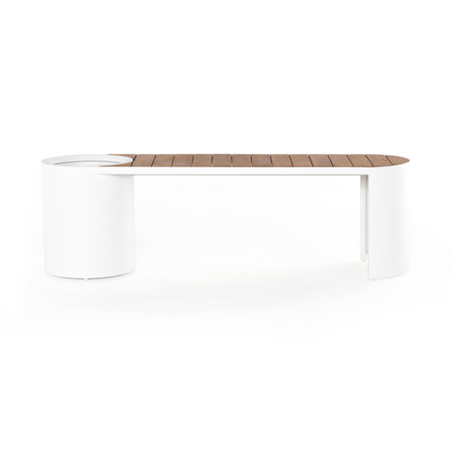Four Hands Kylen Outdoor Bench with Planter - White - 1