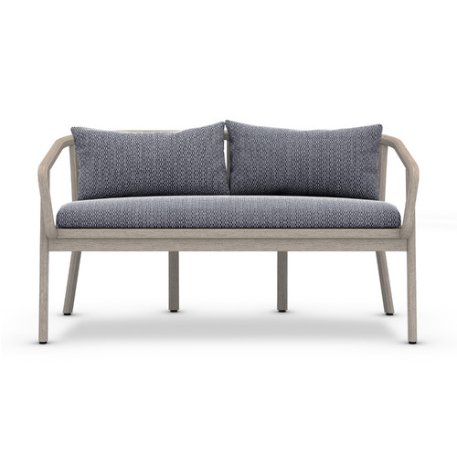 "28"" Four Hands Solano Tate Outdoor Bench - Faye Navy/Grey - 1"