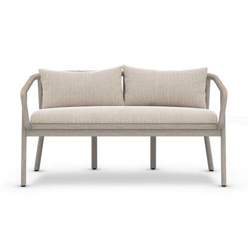 "28"" Four Hands Solano Tate Outdoor Bench - Faye Sand/Grey - 1"