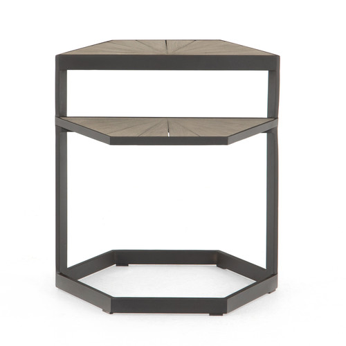 "22"" Four Hands Solano Alek Outdoor End Table - Weathered Grey - 1"