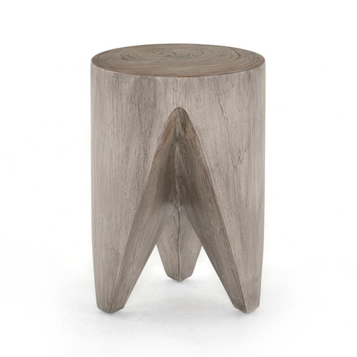 "17"" Four Hands Grass Roots Petros Outdoor End Table - Weathered Grey - 1"