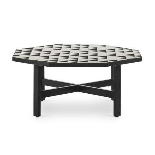 """16"""" Four Hands Troy Outdoor Coffee Table - Black and White - 1"""