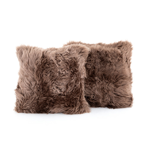 Set of 2 Four Hands Mateo Lalo Lambskin Pillow - Taupe - 1
