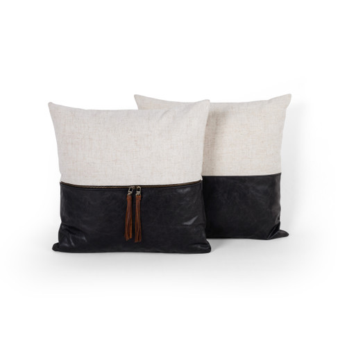 Set of 2 Four Hands Ashford Leather And Linen Pillow - Black - 1