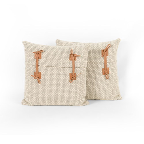 Set of 2 Four Hands Ashford Leather Tie Pillow - 1