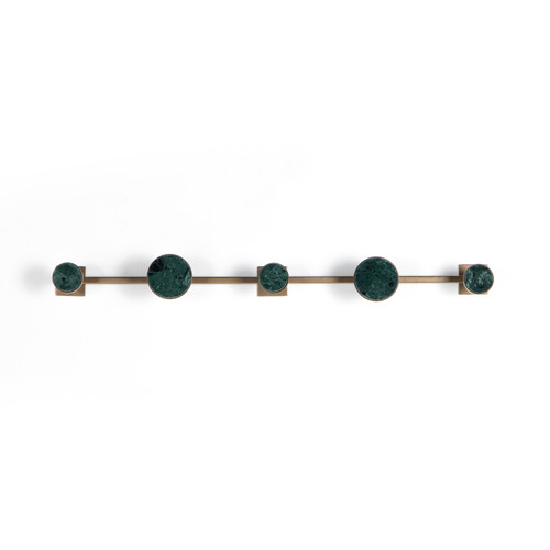 Four Hands Marlow Rizzo Wall Hook - Hunter Green Marble - 1