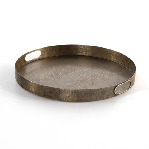 Four Hands Asher Etched Tray - Etched Brass - 1