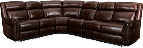 4-Piece Hooker Furniture Living Room Esme Sectional with 3 Power Recliner and Headrest 1 - 1