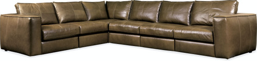 Hooker Furniture Living Room Solace Leather Stationary Sectional 1 - 1
