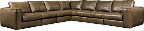 Hooker Furniture Living Room Solace Leather Stationary Sectional 2 - 1
