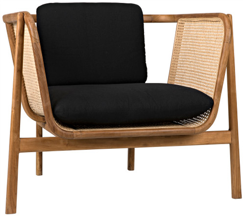 "33"" Noir Balin Teak Chair with Caning - 1"