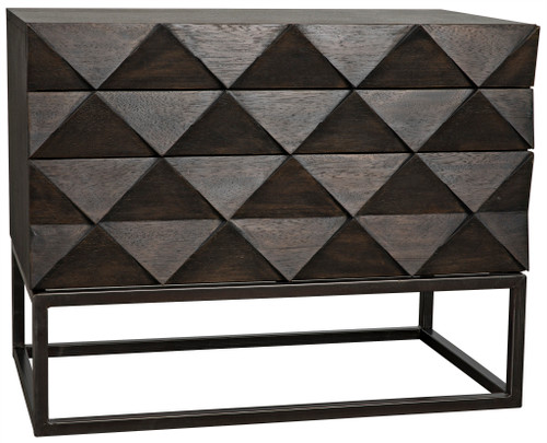 "28"" Noir Draco Walnut Sideboard Cabinet with Metal Stand - 1"