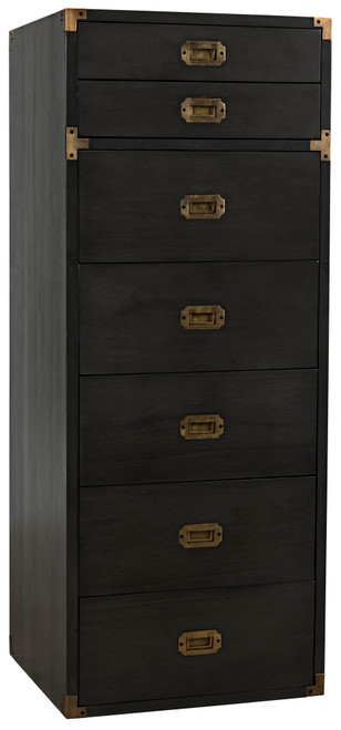 "51"" Noir Campaign Mahogany Tallboy Chest - Pale - 1"