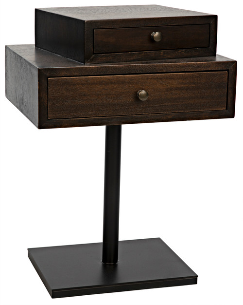 "27"" Noir Enola Walnut and Metal Side Table with Base - 1"