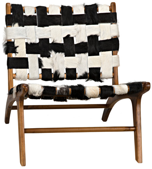 "28"" Noir Kamara Teak Chair with No Arm - Black/White - 1"