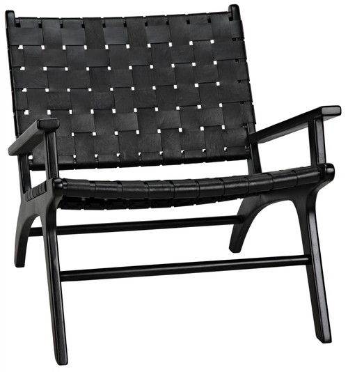 "28"" Noir Kamara Teak Arm Chair - Black - 1"