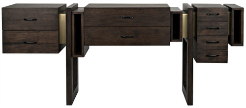 "32"" Noir Midlake Walnut and Metal Sideboard Cabinet - 1"