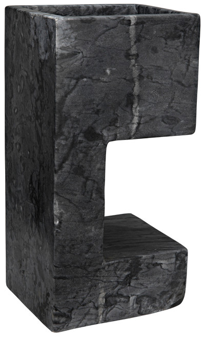 "17"" Noir Lawton Stone Side Table - Black - 1"