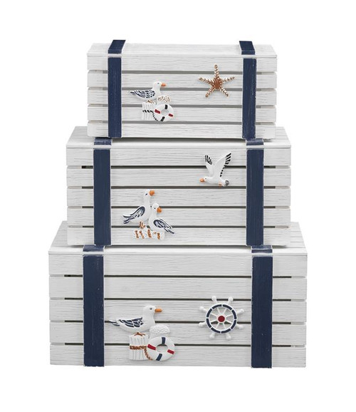 "Set of 3 Coast to Coast Accents Nesting Trunk 15"" - 1"