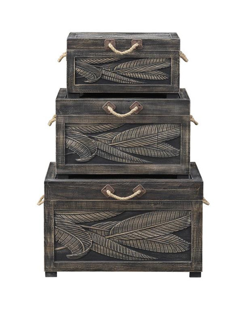 "Set of 3 Coast to Coast Accents Nesting Trunk 19"" - 1"
