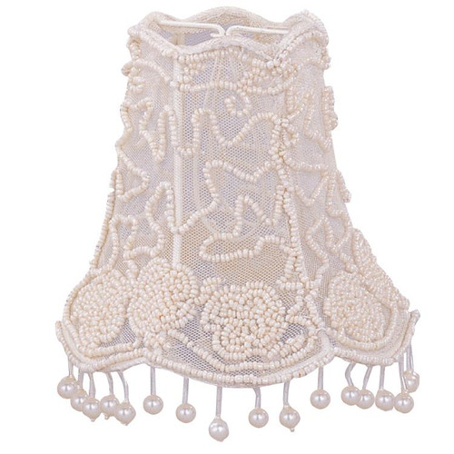 "5"" Crystorama Pearl Beaded Shade with Dangling Pearls - 1"