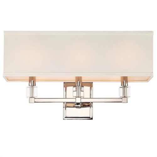 Crystorama Dixon 3 Light Polished Nickel Bathroom Vanity Light - 1