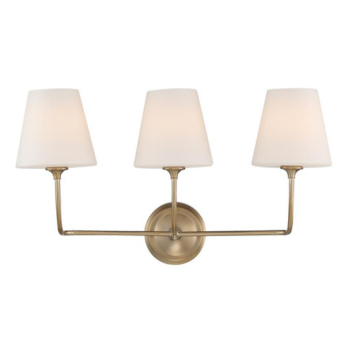 Crystorama Libby Langdon for Sylvan 3 Light Vibrant Gold Bathroom Vanity Light - 1