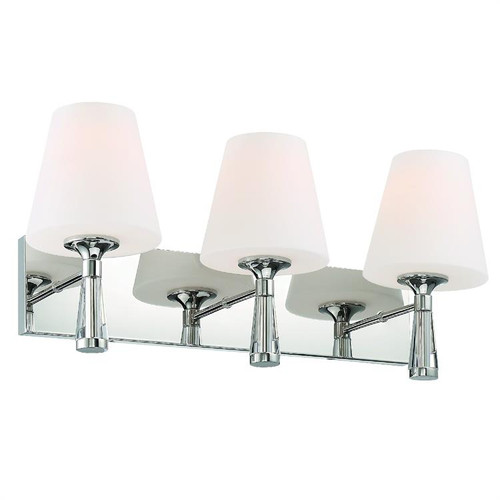 Crystorama Ramsey 3 Light Polished Nickel Bathroom Vanity Light - 1