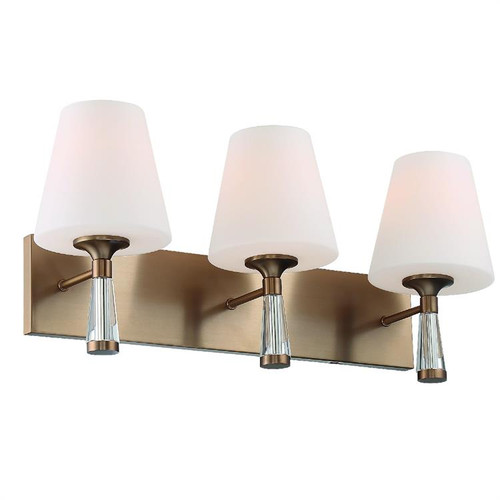 Crystorama Ramsey 3 Light Vibrant Gold Bathroom Vanity Light - 1