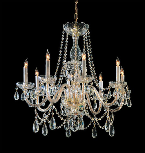 Crystorama Traditional Crystal 8 Light Polished Brass Hand Cut Chandelier - 1