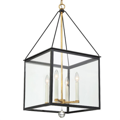 Crystorama Weston 4 Light Black and Antique Gold Lantern Hanging Light 1 - 1