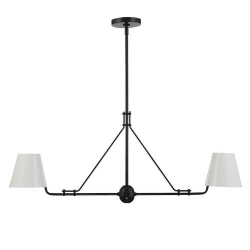 Crystorama Xavier 2 Light Matte Black Linear Chandelier - 1