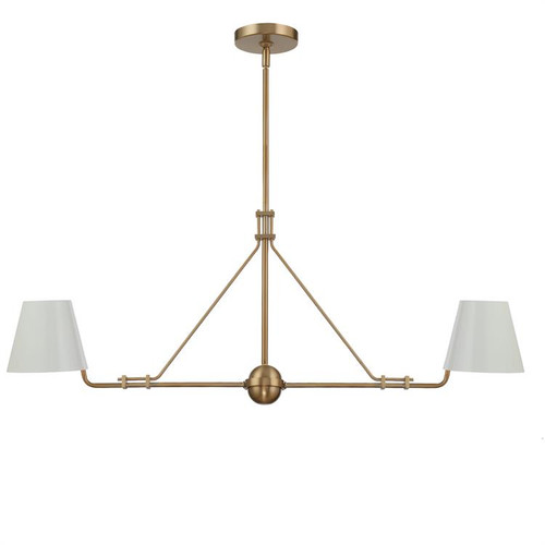 Crystorama Xavier 2 Light Vibrant Gold Linear Chandelier - 1