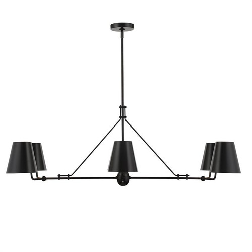 Crystorama Xavier 6 Light Matte Black Linear Chandelier - 1