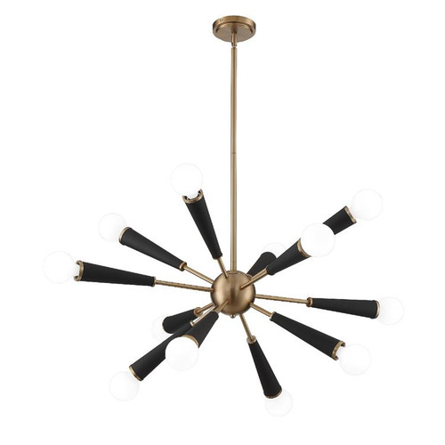 Crystorama Zodiac 12 Light Aged Brass Chandelier - 1