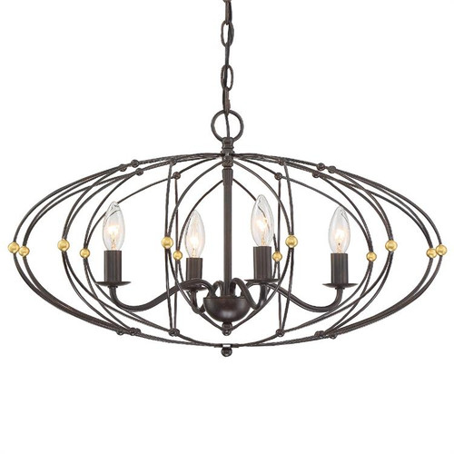 Crystorama Zucca 4 Light English Bronze Chandelier - 1