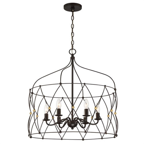 Crystorama Zucca 6 Light English Bronze and Antique Gold Lantern Hanging Light - 1