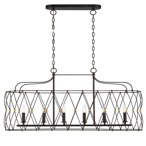 Crystorama Zucca 6 Light English Bronze and Antique Gold Linear Chandelier - 1