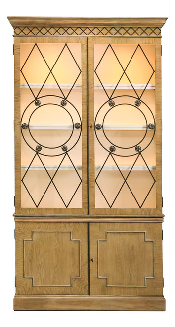 "104"" Sarreid Grafton China Cabinet - Heather Gray Finish - 1"