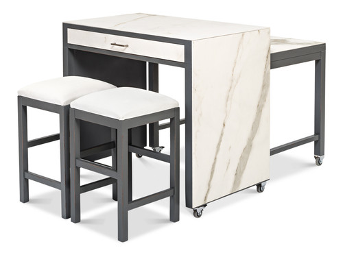 Sarreid Kitchen Island with Table and Stool - 1