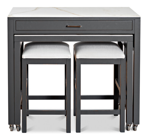 Sarreid Simple Kitchen Island with Table and 2 Stool - 1